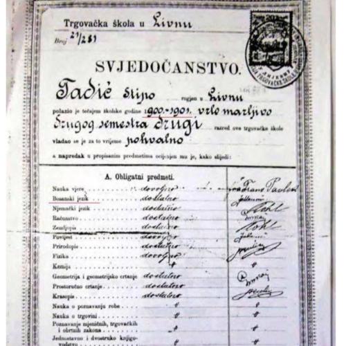 Stipe iz Trgovačke škole Livno: školska 1900/01 – prvo vjeronauka pa bosanski jezik