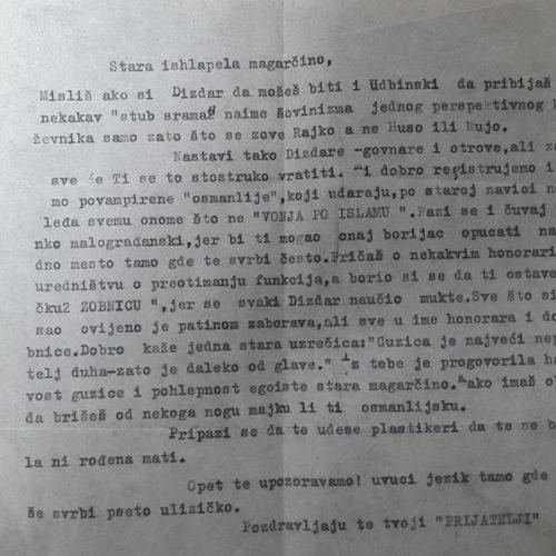 Kako su velikosrbi prijetili smrću velikom bosanskom književniku Maku Dizdaru: Anonimno pismo iz 1970. godine