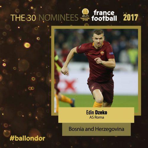 Zlatna lopta: Edin Džeko među 30 kandidata za najboljeg fudbalera