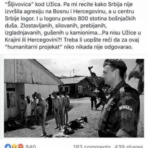 Facebook blokirao profil Dragana Bursaća zbog objave slike logora za Bošnjake u Srbiji