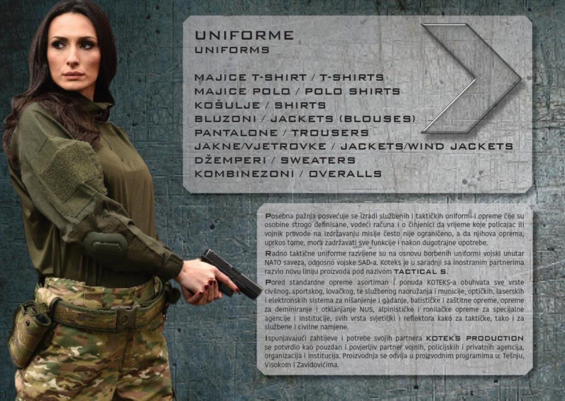 TACTICAL S – nova linija opreme za vojsku i policiju iz Tešanjskog Koteksa