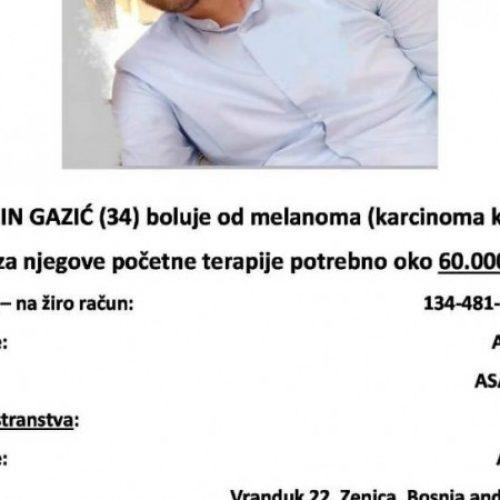 Apel za pomoć Zeničaninu Alminu Gaziću oboljelom od melanoma