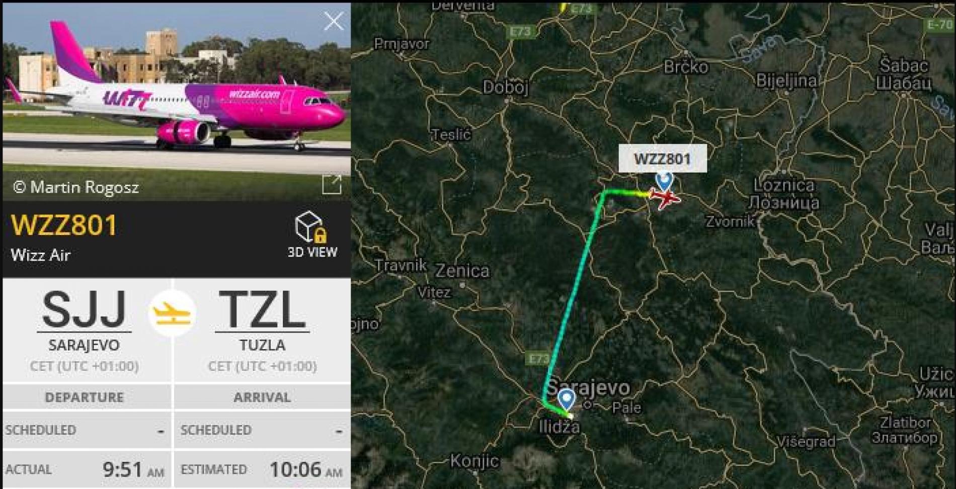 Avionom iz Sarajeva do Tuzle za 15 minuta