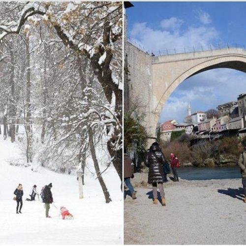 Bosna i Hercegovina: Dok je u Sarajevu padao snijeg, Mostar obasjan suncem