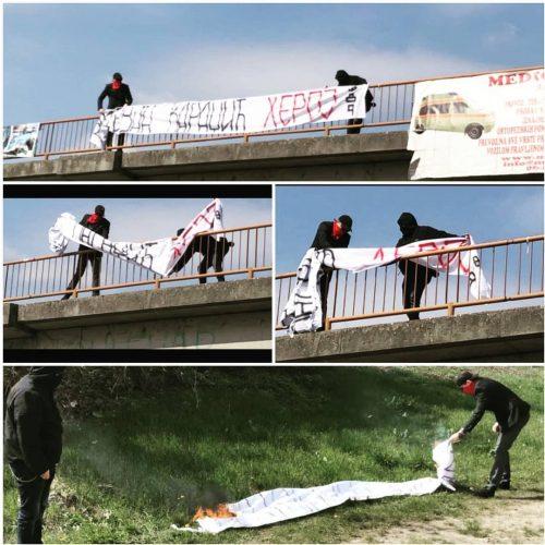 'Mlada Vojvodina' skinula i spalila transparent koji veliča presuđenog zločinca