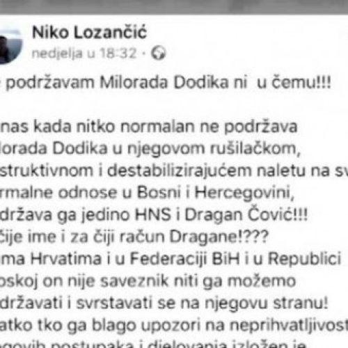 Lozančić se ogradio od Čovićeve politike: Niko normalan ne podržava Dodika