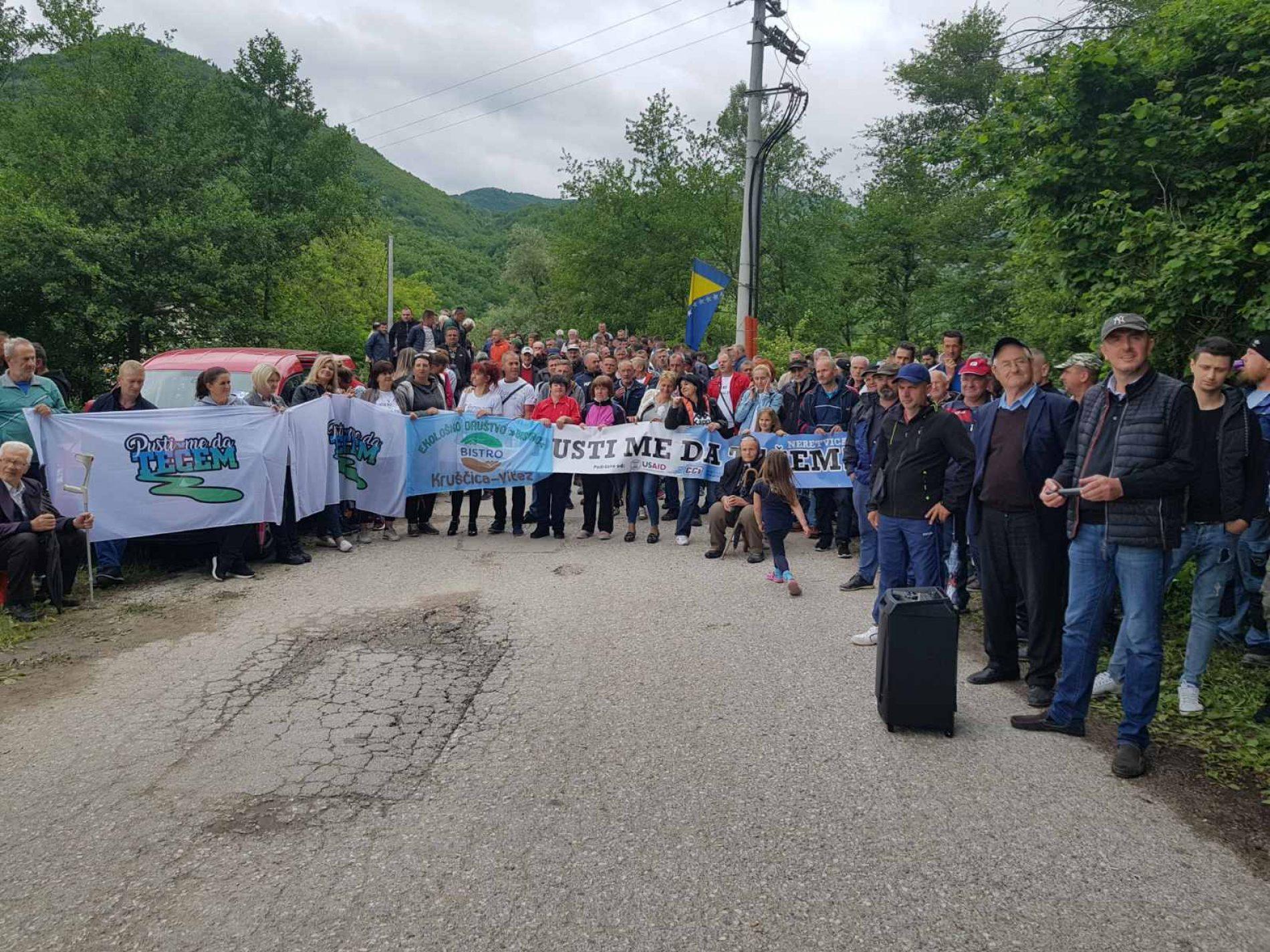 Protesti u Goranskom Polju: Neretvicu ne damo, hidroelektrane nećemo!