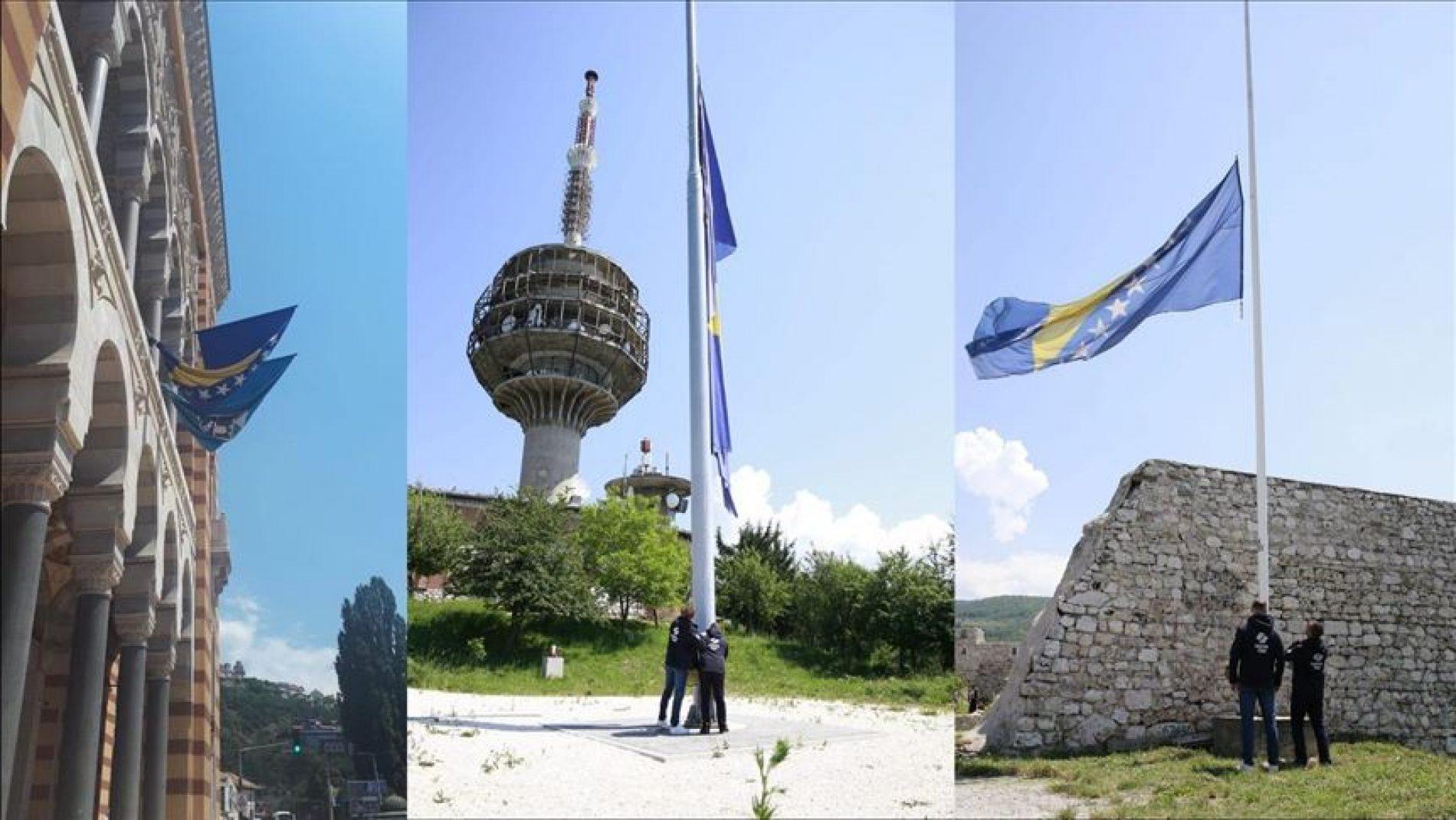 Sarajevo: Na Humu, Tabiji i Vijećnici državne zastave spuštene na pola koplja