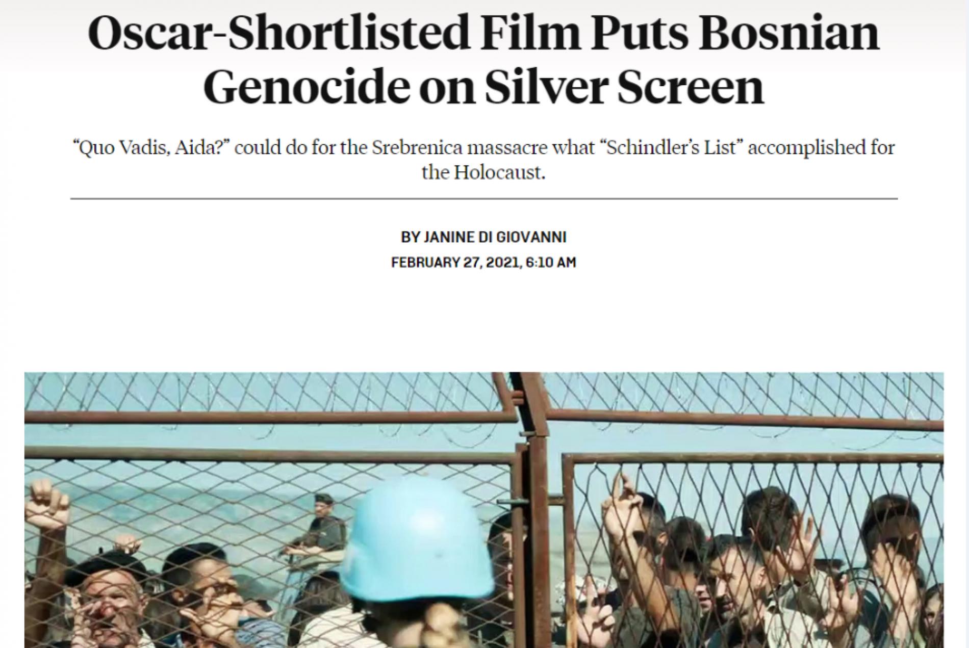 Film 'Quo Vadis, Aida?' mogao bi učiniti za bosanski genocid ono što što je 'Schindlerova lista' postigla za holokaust