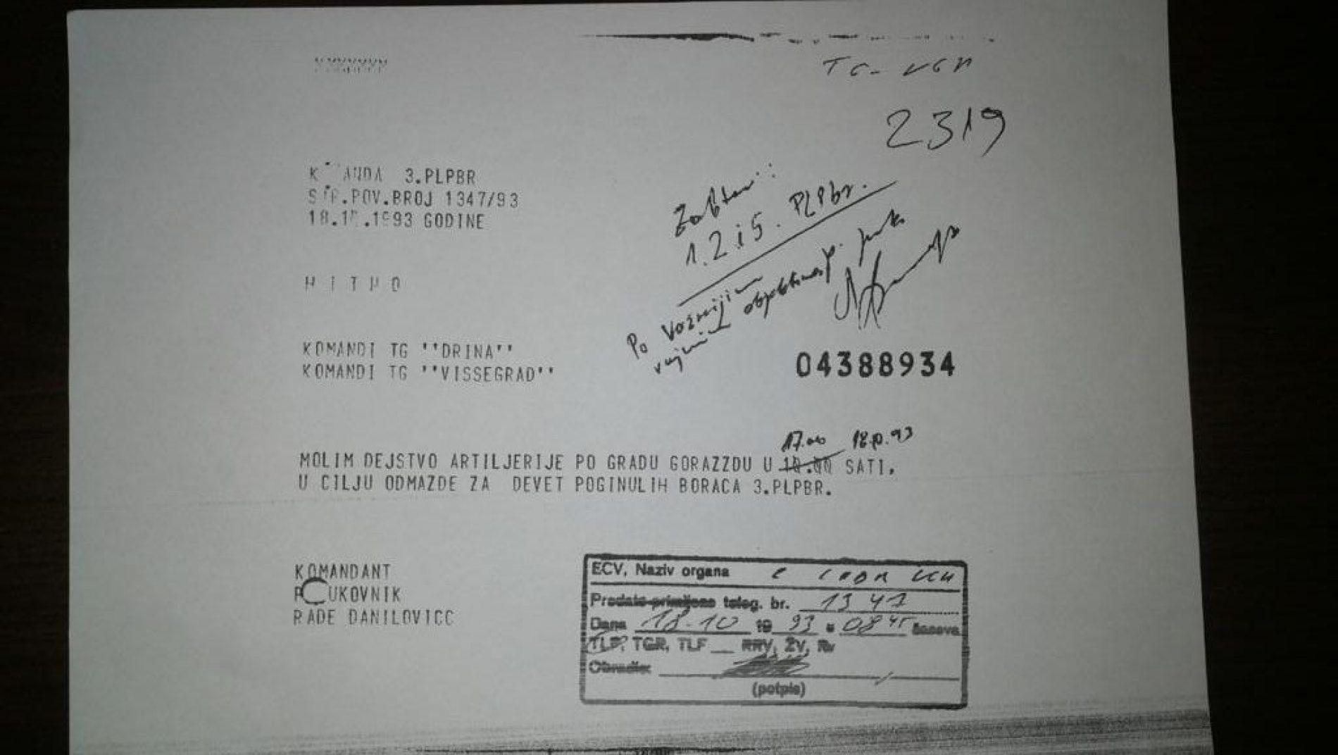 """Apsurdi: Zašto je na slobodi Rade Danilović  koji je tražio granatiranje Goražda """"u cilju odmazde""""!?"""